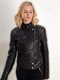Higgs Leathers SOLD!  Blythe (ladies Designer Black Leather Biker jacket)
